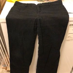 Black with thin white stripes stretch pants